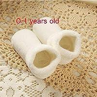 DuRone - 真新しいベビーソックス新生児の幼児の少年少女のためのかわいいクマのベビーベッド暖かい靴の冬の子どもたちは靴Sapatos meiasティスの靴下 [白色の固体]