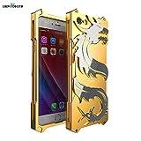 iPhone7/7 PlusケースiPhone6/6sケースiPhone6 Plus/6s Plusケース 龍柄 かっこいい アルミバンパー ストラップ付きiPhone7 アルミバンパーiPhone7Plusケース アルミiPhone6 メタルケースiPhone6sバンパー アルミiPhone6 Plus アルミバンパーiPhone6s Plus アルミバンパー (iPhone7, ゴールド)