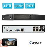KKmoon 4CH 1080P POE NVR ネットワークビデオレコーダー Onvif P2P Android / iOS APP・動き検知・日本語支持 HDDなし