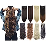Lelinta 7Pcs 16 Clips Thick Curly Straight Full Head Clip in Double Weft Hair Extensions