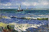 """タイル壁画Seascape at Les saintes-maries-de-la-mer Sea Boat by Vincent Van Goghキッチンバスルームシャワー壁Backsplash止め板3x 24.25インチセラミック、光沢 12"""" Ceramic, Matte I821__3x2_12iCerMat_Tile_Mural"""