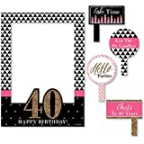 Chic 40th Birthday - Pink, Black and Gold - Birthday Party Photo Booth Picture Frame & Props - Printed on Sturdy Plastic Material