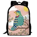 鳥 太陽 小枝 バックパック レジャー リュックサック ナップザック 多機能バッグ デイパック ショルダーバッグ