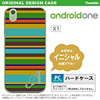 X1 スマホケース androidone ケース アンドロイドワン イニシャル ボーダー ターコイズ nk-x1-702ini S