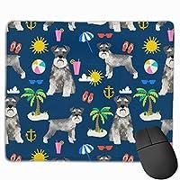 シュナウザービーチ夏の犬種ペットピュアブリードネイビーマウスパッド 25 x 30 cm