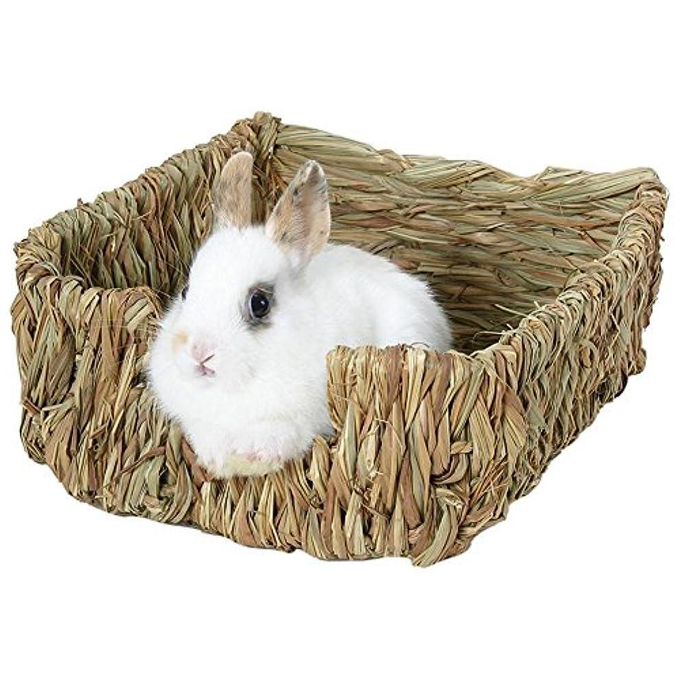 ドアミラー大砲ウナギウサギの巣、モルモットとウサギ用の天然の草を編んだベッドと草の巣