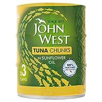 [John West ] ヒマワリ油3のX 145グラムでジョン・西マグロチャンク - John West Tuna Chunks in Sunflower Oil 3 x 145g [並行輸入品]