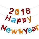 WINOMO 新年 ガーランド HAPPY NEW YEAR 飾り ガーランド バナー 3M お正月 飾り 不織布 カラフル 新年の雰囲気盛り上げる