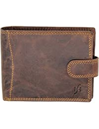 Starhide Mens RFID BLOCKING Genuine Leather Ttri-fold Wallet With Coin Pocket f#1065 Brown-Hunter