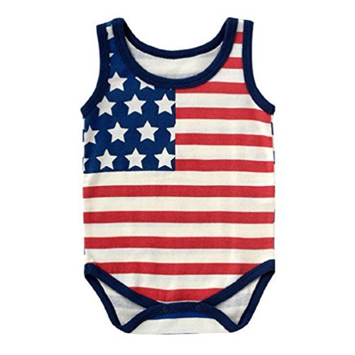 Rixin 4TH of July Shirt Baby Boys Girls Happy Independence Day tees, Stripes Casual Tops Clothing for Little Kids - White - 0-6months/tag 70