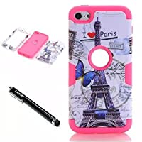 iPod Touch 6th Generation CaseLantier 3 Layers Hybrid Soft Silicone Hard Plastic TUFF Triple Quakeproof Drop Resistance Protective Case Cover Stylus Butterfly Post Card Pairs Tower/Hot Pink
