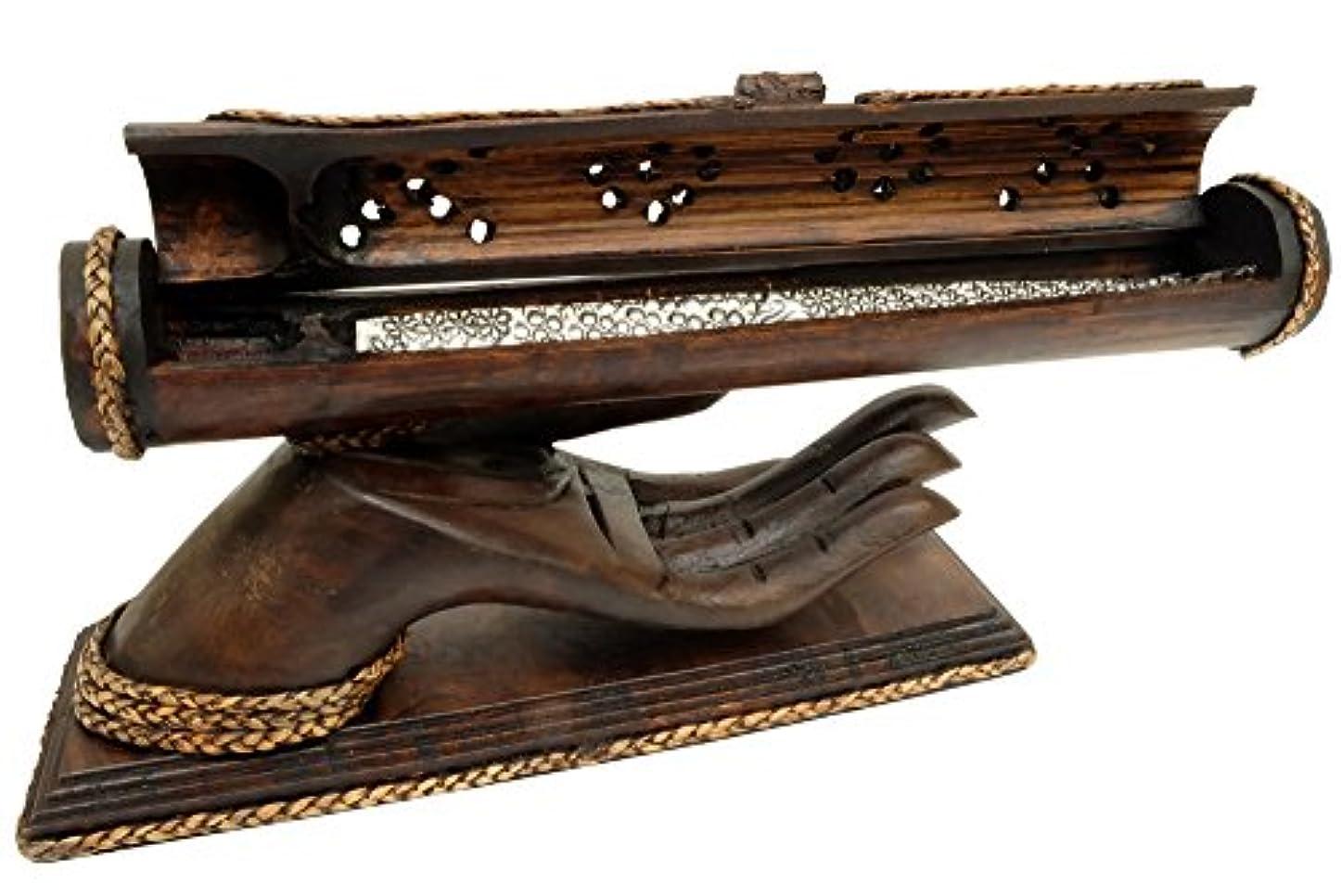 滝送る観点デザインby unseenthailand竹Trough木製ハンドメイドIncense Burner Ashキャッチャーwithチーク材手ホルダー。 ブラック