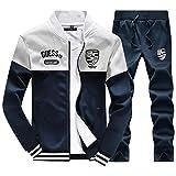 SemiAugust(セミオーガスト)メンズ スウェット セットアップ スポーツウエア 上下 セット メンズファッション ルームウェア ジャージ トレーニング 春 (ダークブルー XL)