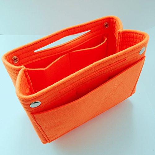 小さめ バッグインバッグ フエルト インナーバッグ a5 b5 小物整理 収納 オーガナイザー (オレンジ)