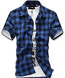 (ルビタス) rubitas チェック シャツ メンズ 半袖 ボタン ジャケット 格子柄 カッコイイ ゴルフ ウェア (L, 青黒チェック)