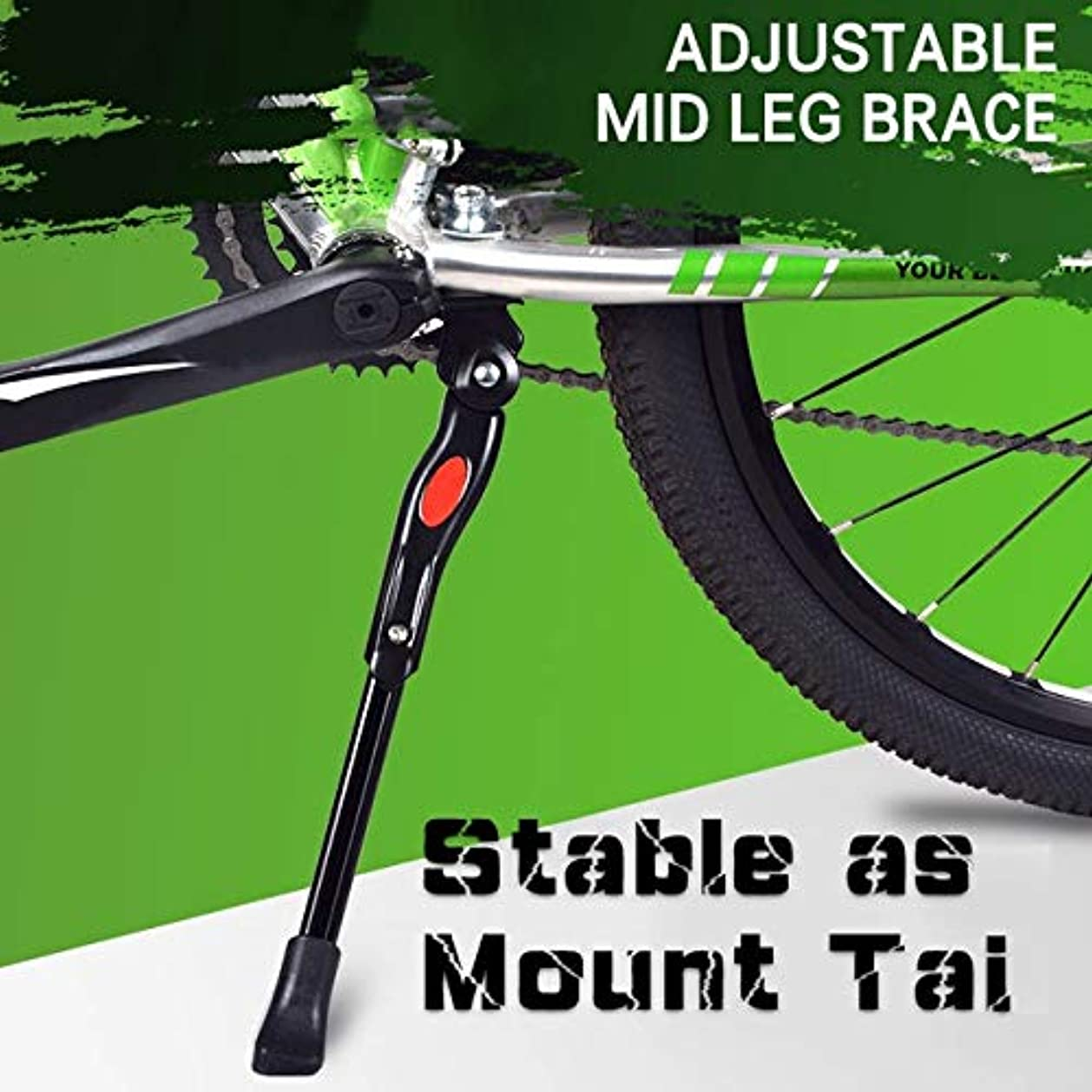 簿記係強制に向かって自転車MTBサイクリングパート新合金の調節可能な自転車キックスタンドキックスタンドSidestayのための調節可能なアルミ合金ホワイトキックスタンド AJMYLL (Color : Black)