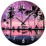 壁掛け時計 インテリア アート クロック ビーチ サンセット パープル 直径28.5cm