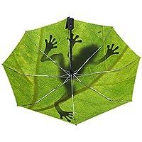 マキク(MAKIKU) 日傘 折りたたみ 軽量 自動開閉 折り畳み傘 レディース 晴雨兼用 傘 メンズ uvカット グラスファイバー ワンタッチ 紫外線対策 頑丈な8本骨 収納ケース付 カエル 蛙柄