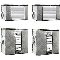 収納ケース 衣類 布団 収納袋 収納ボックス (衣類収納 2枚 +ふとん収納 2枚)