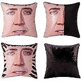 Merrycolor Mermaid Pillow Cover, Nicolas Cage Pillow Case Magic Reversible Sequin Pillow Cover Decorative Throw Cushion Case 16 x 16 Inches (Black)