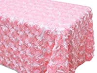 ak-tradingテーブルクロス120インチ54xコード長方形ローズGrandioseロゼットテーブルクロスTablecover 54Wx120L ピンク