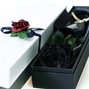 Makefuture プリザーブドフラワー ギフト ダイヤモンドローズ プロポーズ 一輪 薔薇 (レザーブラック)