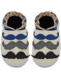 Kimi + Kai Kids Soft Sole Leather Crib Bootie Shoes - Mustache Galore