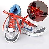 ファッションカジュアル点滅ライトUp靴靴紐LED靴紐with連続とフラッシュ照明forパーティーヒップホップダンスサイクリングハイキングBattery Powered 1ペア one size fits all レッド 18