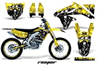 Suzuki RMX 4502008–2016MXダートバイクグラフィックキットステッカーデカールwith Number Plates Reaperイエロー