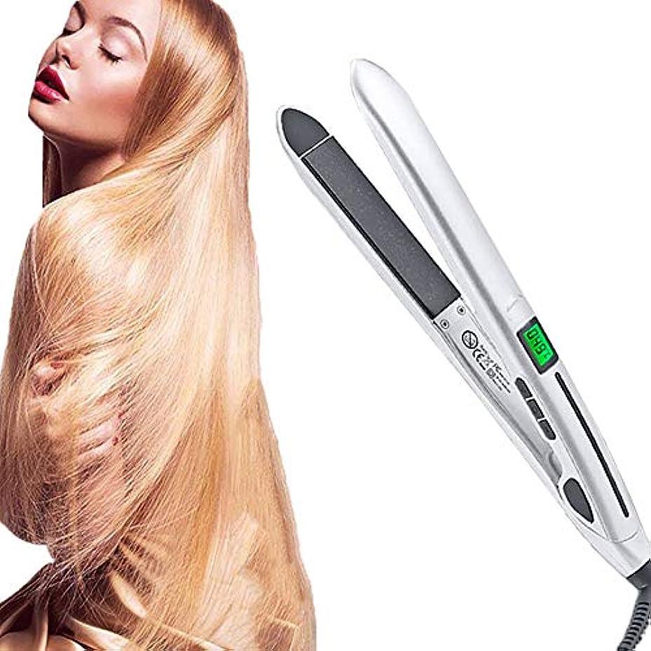 葉を集めるひそかに便利ポータブル 2 in 1 セラミック ストレートヘアアイロンと ヘアアイロン、 職業 360度 ヘアカーラー、 LCDデジタルディスプレイ ロングショート用 濡れた髪 髪にダメージなし,2