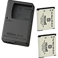 Nikon mh-66充電器for Nikon EN - el19Coolpix s100、s3100、s3200、s3300、s3500, s3600, s3700、s4100、s4200、s4300, s5200, s5300, s6400, s6500, s6800, s6900, s7000デジタルカメラ+ 2bonusバッテリー