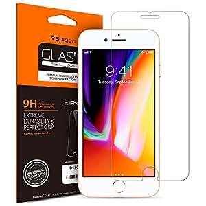 【Spigen】 iPhone8 ガラスフィルム / iPhone7 ガラスフィルム, [ 液晶保護 ] [ 9H硬度 ] [ Rラウンド 加工 ] [ 3D Touch対応 ] GLAS.tR SLIM アイフォン 8 / 7 用 強化ガラス液晶保護フィルム (iPhone8 / iPhone7, GLAS.tR SLIM (1枚入))