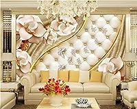 Weaeo カスタム壁紙3D高級金のジュエリーの花柔らかい袋のジュエリーの壁画3Dリビングルームの背景壁3Dの壁紙-400X280Cm