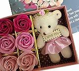 minimumkobe(ミニマム神戸)ギフト 女性 人気 母の日 花 薔薇 ローズ くま ベアー かわいい ぬいぐるみ 出産 お祝い 誕生日 (S, ピンク)
