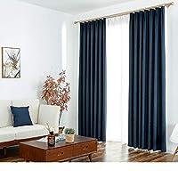窓カーテンシェーディング布プリーツカーテンブラインドブラックアウトカーテン、リネンカーテンベッドルームリビングルームバルコニー装飾窓 (色 : ネイビー ねいび゜, サイズ さいず : 1*W3*H2.7m)