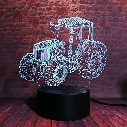 ナイトライト - イリュージョンベッドサイドテーブルランプ7色の変更の夜ライトはリモコンテーブルランプ子供は装飾ビットコインを優先します (Color : Tractor Car)