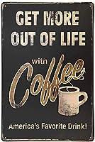 JOOCARはコーヒーメタルスズサインウォールインテリアアートで人生のより多くを取得します