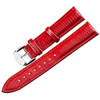 本革腕時計バンド 24mm-12mm 交換用腕時計ベルト リストバンド メンズ レディース フルカラー&サイズ 14mm レッド
