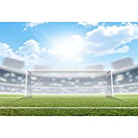 comophoto写真バックドロップ夏スポーツスタジアムFootball Field Grass子供写真背景for Photo Studio小道具