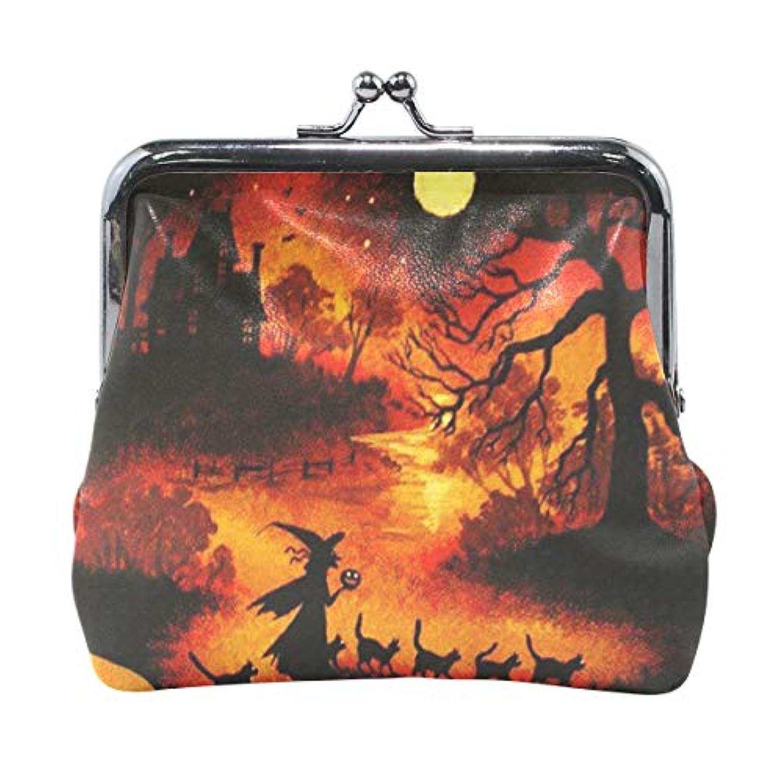 がま口 小銭入れ 財布 ハロウィンの夜 魔女 コインケース レザー製 丸形 軽量 人気 おしゃれ プレゼント ギフト 雑貨