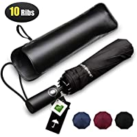 Bodyguard Travel Umbrella,10 Ribs Finest Windproof Umbrella with Teflon Coating, Auto Open Close and Upgraded Comfort Handle - Gift Leather Cover