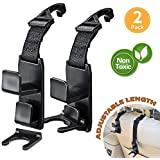 Car Back Seat Headrest Hanger Holder Hooks for Purse Grocery Bag Hat Cloth Coat - Heavy Duty Purse Car Hooks - Drop Stop Gadget - Best Car Accessories for Women, Mom