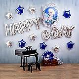 アナと雪の女王 誕生日 飾り付け ディズニー エルサ 子供 女の子 キャラクター プリンセス 可愛い ブルー シルバー バルーン 風船 happy birthday スター 12枚セット