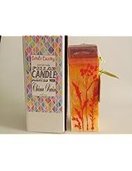 China Rain Scented Orange Palm Wax Pillar Candle 3x9.25 [並行輸入品]