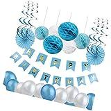 D DOLITY 誕生日 飾り付け 約45点セット バナー ペーパーファン ハニカムボール 渦巻き 風船 ブルー