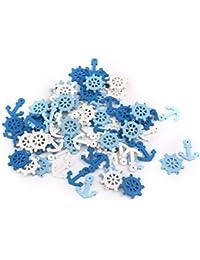 ROSENICE 木製ペンダント スクラップブッ キング ホーム装飾飾りボタン 100本