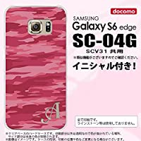 SC04G スマホケース Galaxy S6 edge カバー ギャラクシー S6 エッジ イニシャル 迷彩B ピンクA nk-sc04g-1162ini I