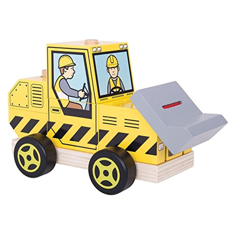 Bigjigs Toys Wooden Stackingブルドーザーおもちゃ