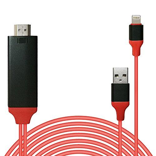 Lightning to HDMI変換 ケーブル 設定不要 プラグアンドプレイ 8pin 1080P高解像度 大画面 高画質 ゲーム/映画/写真などに適用 iphone/ipad/ipodに対応 ライトニングアダプタケーブル(レッド)
