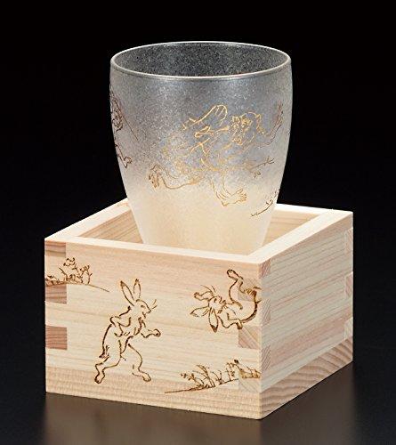 アデリア 枡付き 日本酒グラス100ml プレミアム鳥獣戯画シリーズ 6604